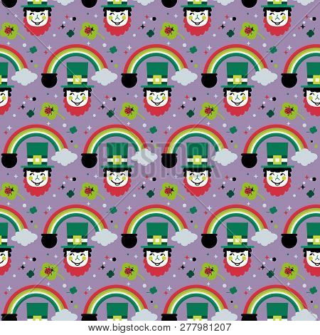 St. Patricks Day Seamless Pattern. Cute Quirky Cartoon Sign Illustration. Traditional Irish Holiday