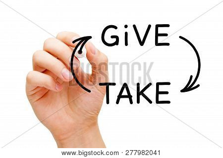 Hand Drawing Give-and-take Compromise, Generosity Or Charity Concept With Black Marker On Transparen