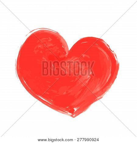 Hand Painted Red Heart Isolated On White. Watercolor Or Acrylic Painting Effect. Grunge Heart Vector