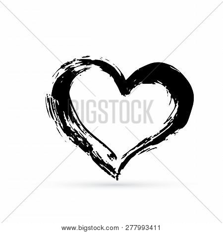 Hand Drown Heart. Black Textured Brush Stroke. Grunge Shape Of Heart. Valentines Day Sign. Love Symb
