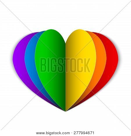 Rainbow Paper Heart Isolated On White. Lgbt Community And Homosexual Love Concept. Symbol Of Lesbian