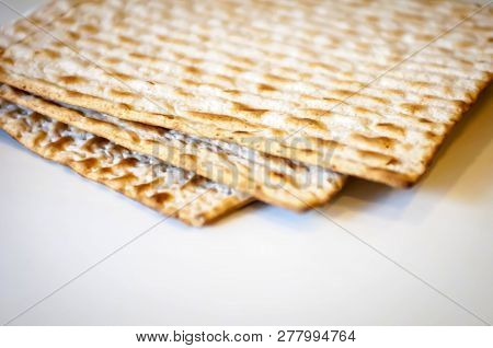 Jewish Traditional Matso Unleavened Bread, Matso Bread Is Made During The Jewish Passover Pesach Hol