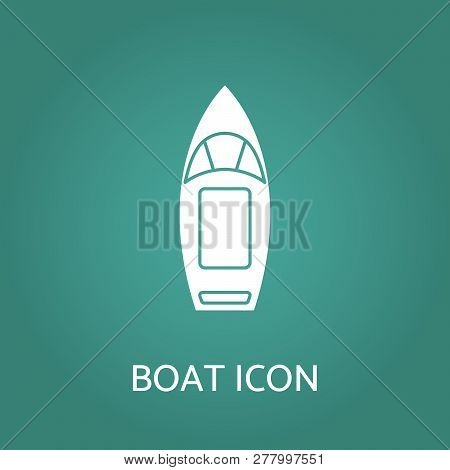 Boat Icon. Top View Contour Pictogram Of Motorboat Or Speedboat. Design For Tag, Label, Banner, T-sh