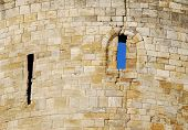 Close-up of stone work on castle wall. Business concepts: stonewalled obstruction problem. poster