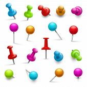 Thumbtack. 3d multicolored push pins for notice paper. Pushpins isolated vector set. Fix pins and attach accessory for board illustration poster