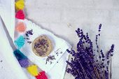 Spa and wellness setting with lavender flowers and handmade soap or shampoo bar, Dayspa nature set. poster