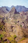 Santo Antao Island, Cape Verde. Amazing huge barren mountain rock in arid climate landscape poster