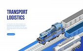 Isometric freight train and railway near transport logistics description for website page poster