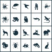 Fauna icons set with turkey, wolf, capybara and other joey elements. Isolated  illustration fauna icons. poster