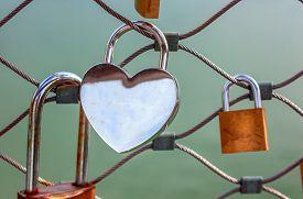 Love lock - heart-shaped blank padlock