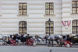 Vienna / Austria -  October 10 2014: Horse carriages on St. Michael square (Michaelerplatz) against the Hofburg palace