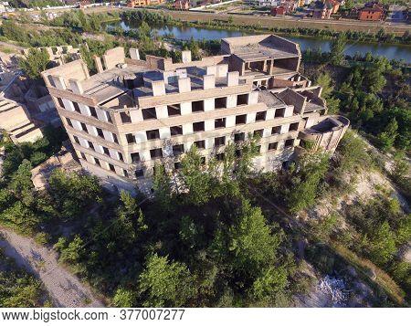 Abandoned construction site of Hospital. (aerial drone image)Abandoned at 1991,during Ukrainian undependence crisis. Kiev Region,Ukraine