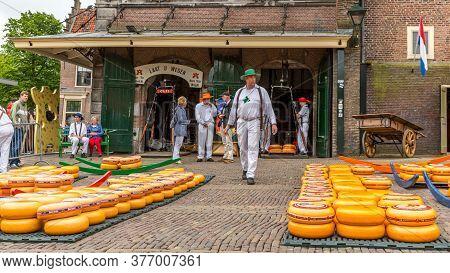 Alkmaar, North Holland / Netherlands. June 11th. 2016. Dutch Cheese Market With Its Weighing Machine