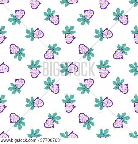 Abstract Fruit Pattern With Figs And Leaves. Tropical Seamless Pattern With Fig And Leaves On White