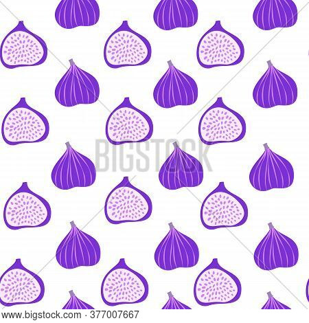 Abstract Fruit Pattern With Figs. Tropical Seamless Pattern With Fig On White Background. Vector Ill