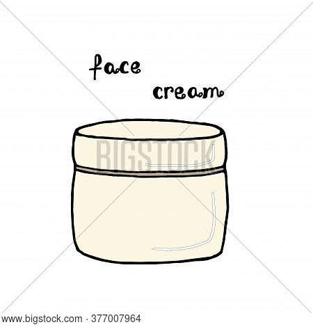 Jar For Cream. Face Cream Jar Linear Icon. Cosmetics. Thin Line Illustration. Color Contour Symbol.