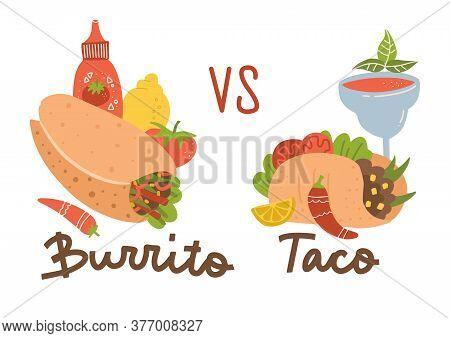 Mexican Food Set. Burrito Vs Taco. Colored Collection With Burrito, Taco, Chilli, Margarita Cocktail