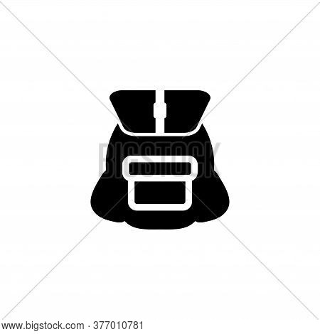 Travel, School Or Army Backpack, Schoolbag. Flat Vector Icon Illustration. Simple Black Symbol On Wh