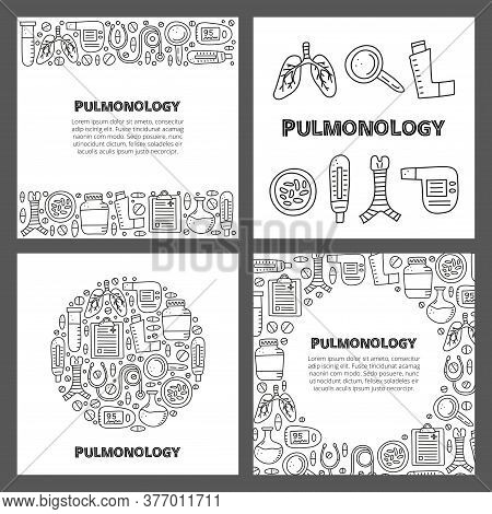 Set Of Cards With Lettering And Doodle Outline Pulmonology Items, Including Lungs, Trachea, Spiromet