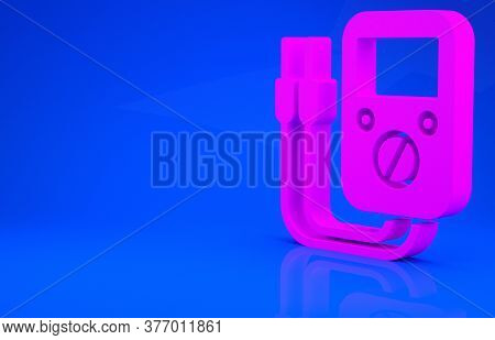 Pink Ampere Meter, Multimeter, Voltmeter Icon Isolated On Blue Background. Instruments For Measureme