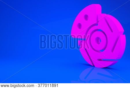 Pink Car Brake Disk With Caliper Icon Isolated On Blue Background. Minimalism Concept. 3d Illustrati