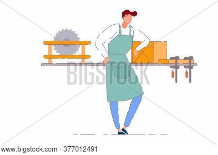Carpenter Workshop Owner. Isolated Professional Carpenter Worker Man In Apron Working At Workbench W
