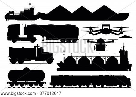 Freight Transport Set. Industrial Transportation Shipping Vehicle Silhouettes. Isolated Freight Ship