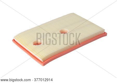 Rectangular Air Filter For A Car, Side View, Isolated On A White Background