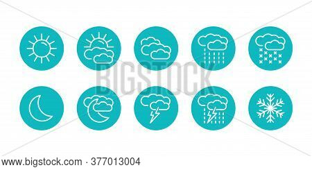 Weather Icons Set - Day, Summer, Sunny, Partially Cloudy, Clouds, Rain, Snow, Moon (night), Thunders