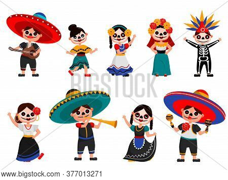 Mexican Skeleton Party Set. Isolated Mexican People Cartoon Characters In Spooky Traditional Costume