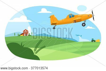Crop Duster. Flying Aircraft Plane Spraying Farm Field With Pesticide Chemicals. Green Rural Farmlan