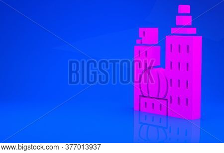 Pink City Landscape Icon Isolated On Blue Background. Metropolis Architecture Panoramic Landscape. M