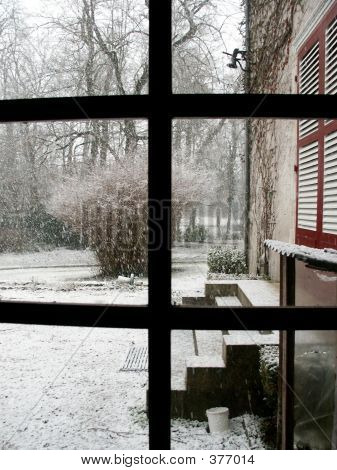 Snowfall At A Country House