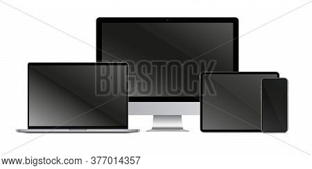 Gadget Screen. Isolated Realistic Blank Laptop, Desktop, Mobile Tablet Computer Monitors, Smart Phon