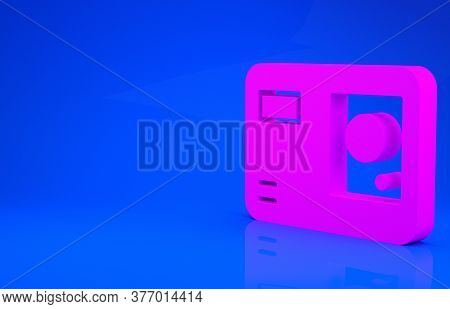 Pink Action Extreme Camera Icon Isolated On Blue Background. Video Camera Equipment For Filming Extr