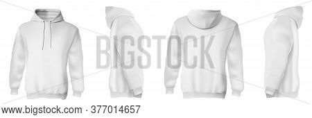 White Man Hoodie. Isolated Blank Modern Male Sweatshirts With Hood Template Set. Front, Side And Bac
