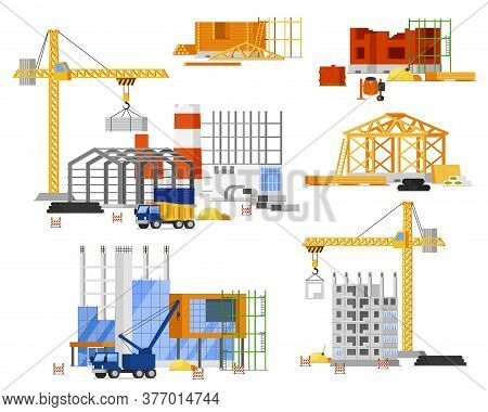 Construction Site Building Set. Tower, Truck Crane Building City, Country House. Isolated Steel, Con