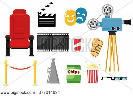 Movie Icon Set. Isolated Cinema Theater Chair, Red Rope Barrier, Popcorn, Filmstrip, Retro Video Cam