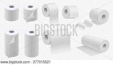 Toilet Paper Roll. Toilet Tape And Kitchen Paper Towel Template. Realistic Hygiene Tissue Package Mo
