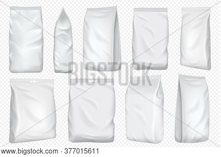 Foil Bag. Plastic Pack And Paper Pouch Template. Blank Food Foil Bag For Snack Isolated On Transpare