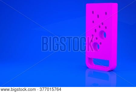 Pink Effervescent Aspirin Tablets Dissolve In A Glass Of Water Icon Isolated On Blue Background. Min