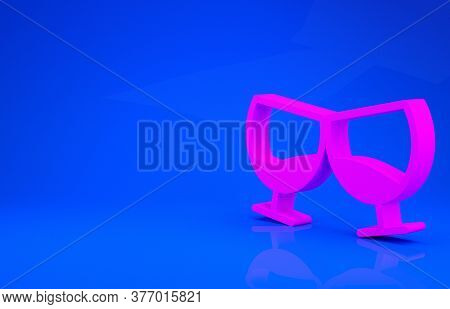 Pink Glass Of Cognac Or Brandy Icon Isolated On Blue Background. Minimalism Concept. 3d Illustration