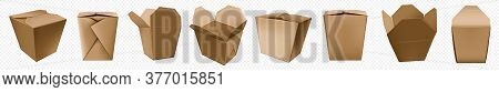Take Away Food Box. Chinese Noodle Container Of Craft Paper. Brown Cardboard Bag Template For Asian