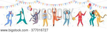Pajama Party. Happy People Wearing Animal Costume Onesies, Celebrating Holiday. Young Men, Women Car