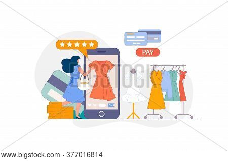 Online Clothing Store. Woman Shopping On Smartphone Mobile Application And Paying For Casual Dress C