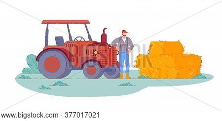 Tractor Operator. Isolated Farm Field Tractor Operator Farmer Man Making Hay Harvest Bales. Countrys