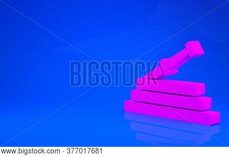 Pink Garden Hose Or Fire Hose Icon Isolated On Blue Background. Spray Gun Icon. Watering Equipment.
