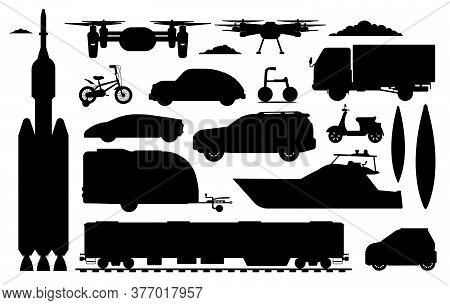 Transport Vehicle Silhouette. Different Transport Collection. Isolated Motor Automobile, Drone, Truc