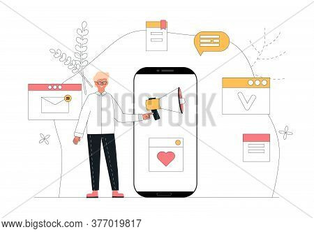 Workflow Management Business Concept Vector Illustration. Content Manager, Client, User Stands Near