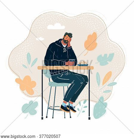 Vector Illustration Of Sad Handsome Man, Sitting At Table In Caffe.